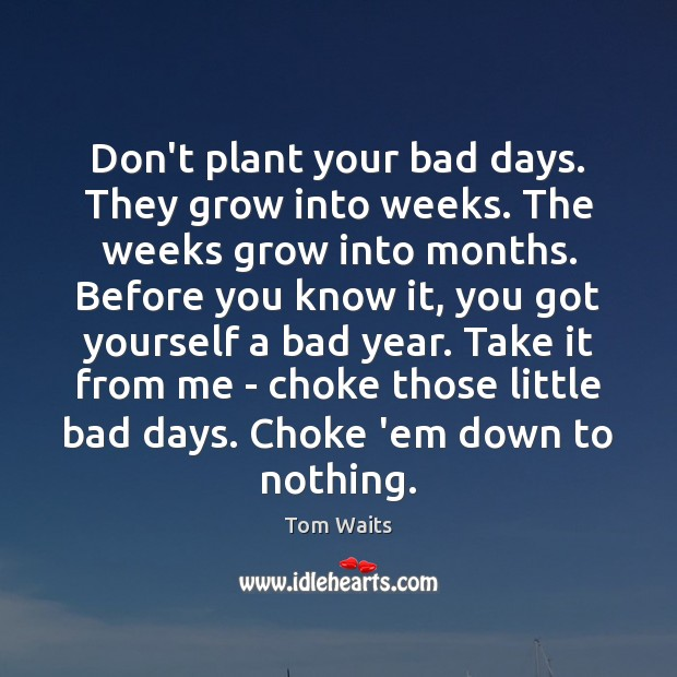 Image, Don't plant your bad days. They grow into weeks. The weeks grow