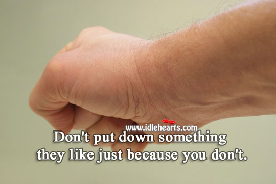 Don't put down something they like. Image