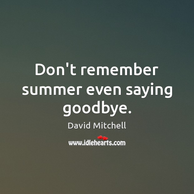 Don't remember summer even saying goodbye. Goodbye Quotes Image