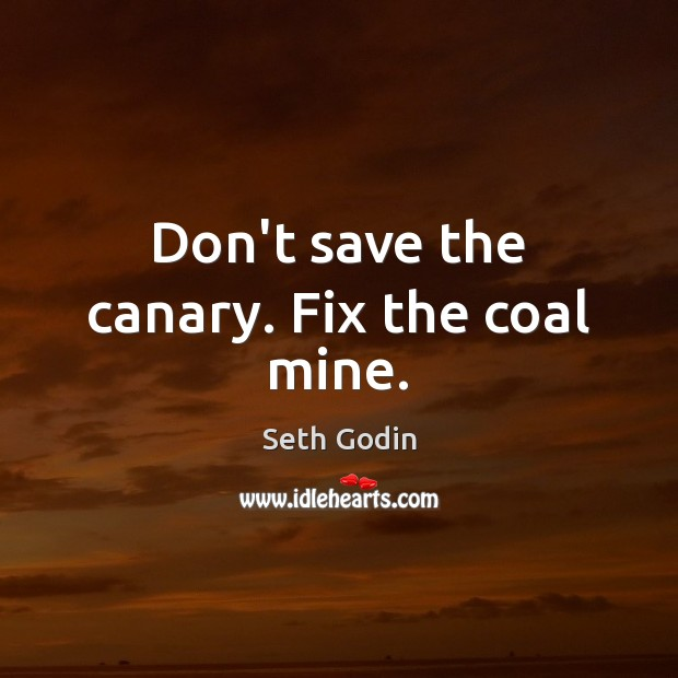 Don't save the canary. Fix the coal mine. Seth Godin Picture Quote