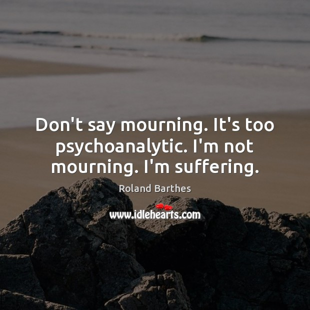 Don't say mourning. It's too psychoanalytic. I'm not mourning. I'm suffering. Roland Barthes Picture Quote