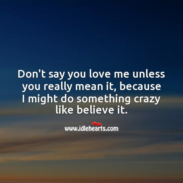 Image, Dont say you love me unless you really mean it, because I might do something crazy like believe it.