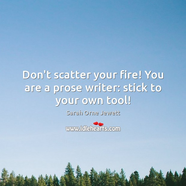 Don't scatter your fire! You are a prose writer: stick to your own tool! Image
