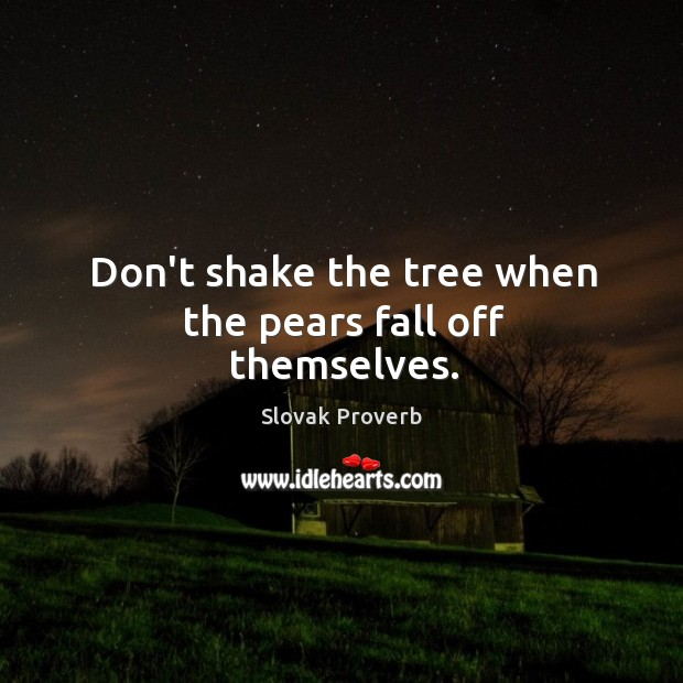 Don't shake the tree when the pears fall off themselves. Slovak Proverbs Image