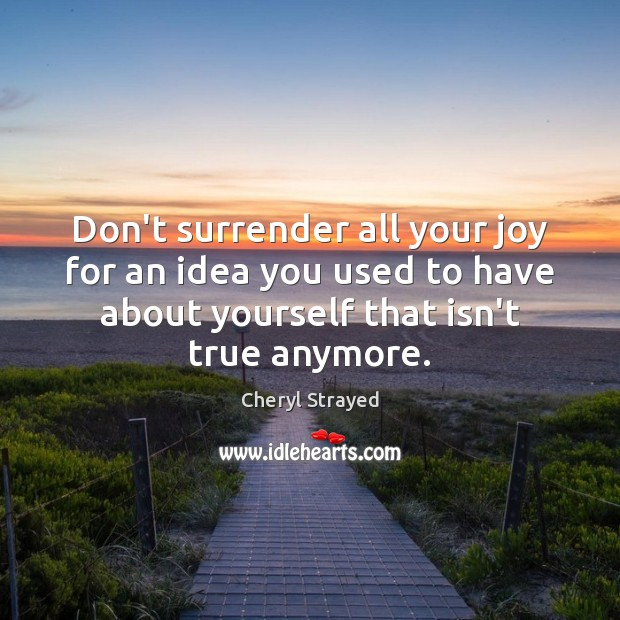 Don't surrender all your joy for an idea you used to have Image