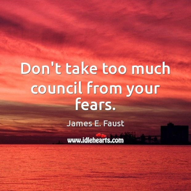 Don't take too much council from your fears. James E. Faust Picture Quote