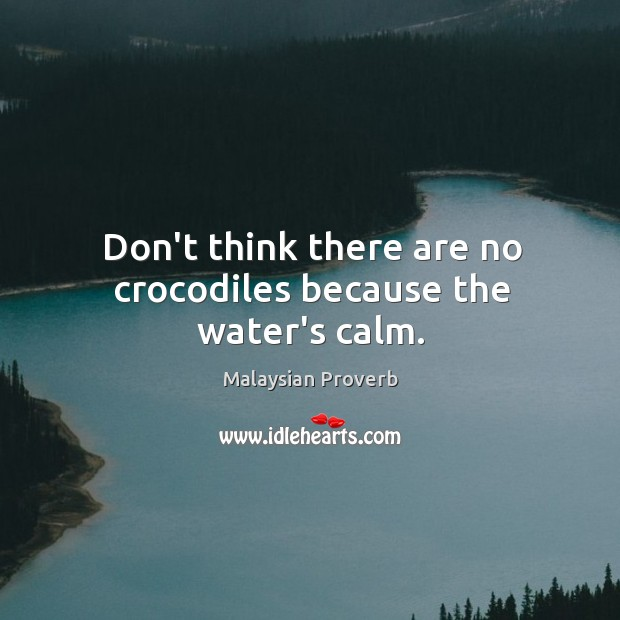 Don't think there are no crocodiles because the water's calm. Malaysian Proverbs Image
