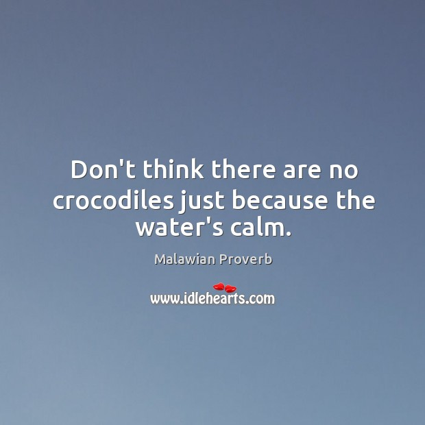 Don't think there are no crocodiles just because the water's calm. Malawian Proverbs Image