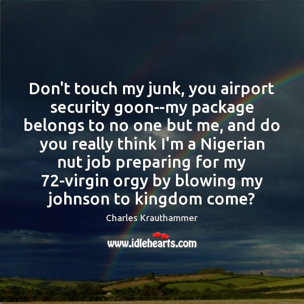 Image, Don't touch my junk, you airport security goon–my package belongs to no