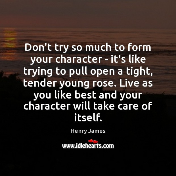 Don't try so much to form your character – it's like trying Henry James Picture Quote