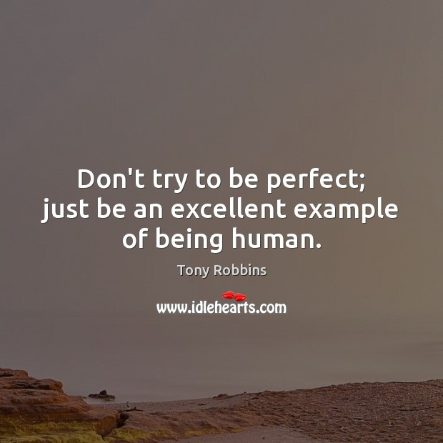 Image, Don't try to be perfect; just be an excellent example of being human.