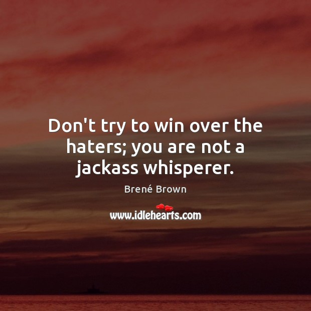 Don't try to win over the haters; you are not a jackass whisperer. Image