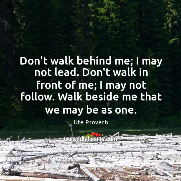 Don't walk behind me; I may not lead. Ute Proverbs Image