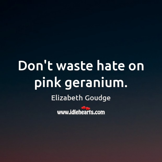 Don't waste hate on pink geranium. Elizabeth Goudge Picture Quote