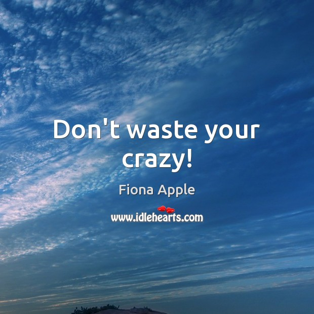 Don't waste your crazy! Fiona Apple Picture Quote