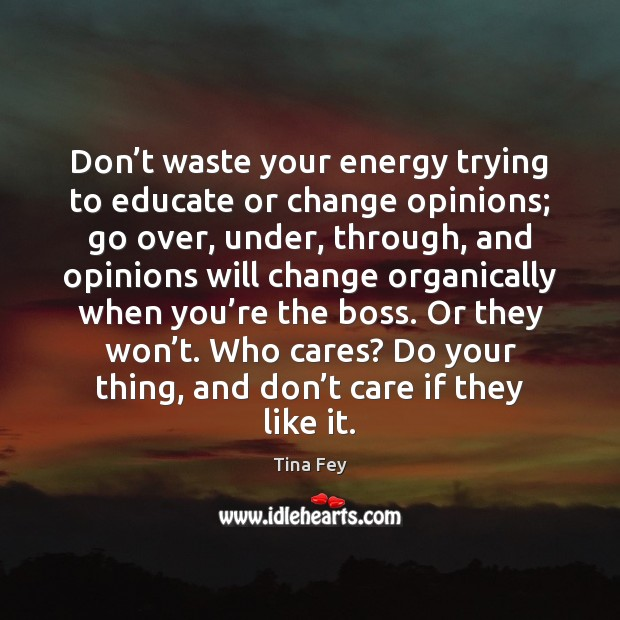 Don't waste your energy trying to educate or change opinions; go Tina Fey Picture Quote