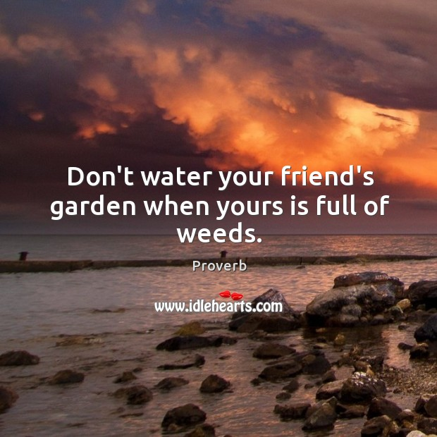 Don't water your friend's garden when yours is full of weeds. Image