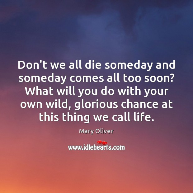 Don't we all die someday and someday comes all too soon? What Mary Oliver Picture Quote