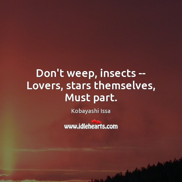 Don't weep, insects — Lovers, stars themselves, Must part. Image