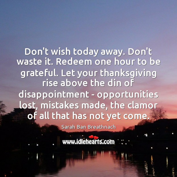 Don't wish today away. Don't waste it. Redeem one hour to be Sarah Ban Breathnach Picture Quote
