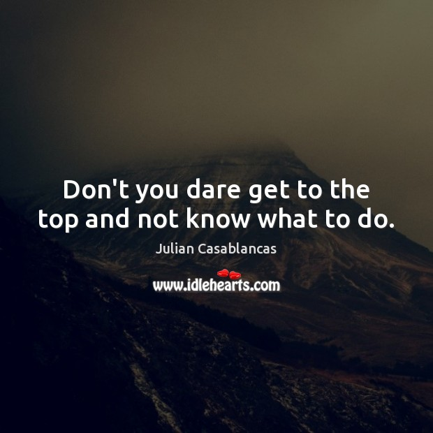 Don't you dare get to the top and not know what to do. Julian Casablancas Picture Quote