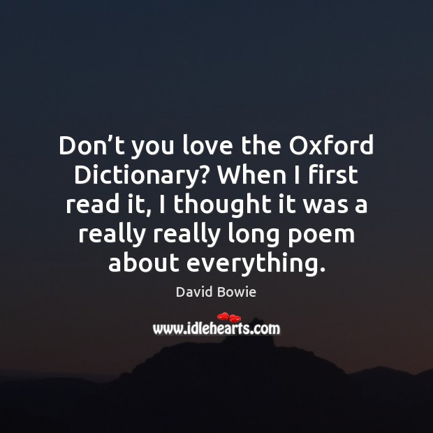 Don't you love the Oxford Dictionary? When I first read it, Image
