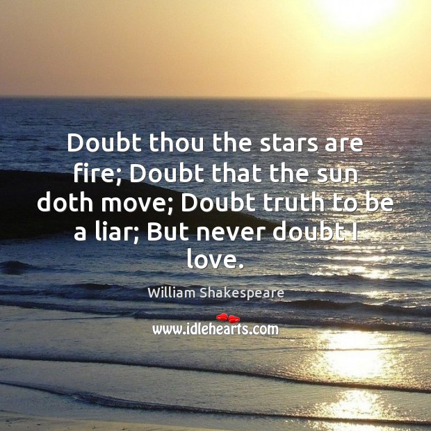 Image, Doubt thou the stars are fire; Doubt that the sun doth move;