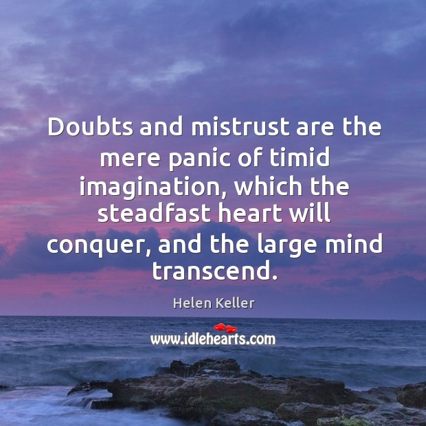 Doubts and mistrust are the mere panic of timid imagination Image
