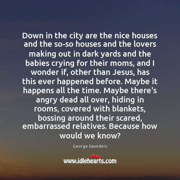 Down in the city are the nice houses and the so-so houses George Saunders Picture Quote