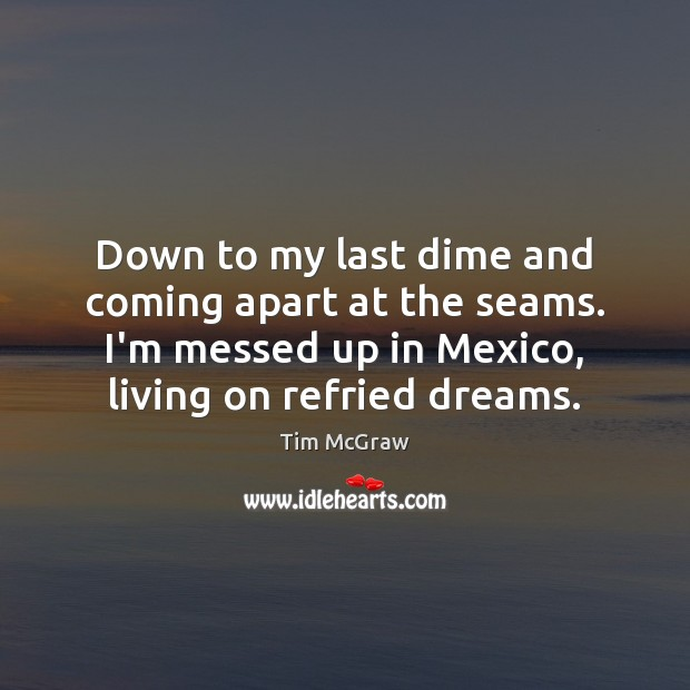 Down to my last dime and coming apart at the seams. I'm Tim McGraw Picture Quote