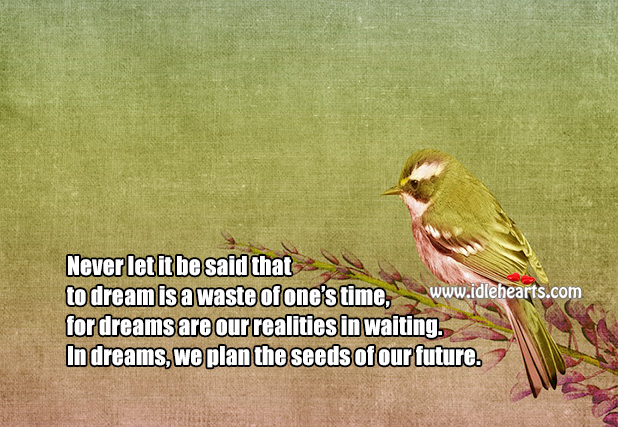 Image, Never let it be said that to dream is a waste of one's time.