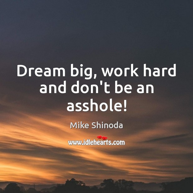 Dream big, work hard and don't be an asshole! Mike Shinoda Picture Quote
