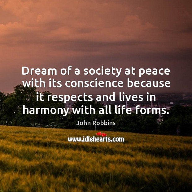 Dream of a society at peace with its conscience because it respects John Robbins Picture Quote