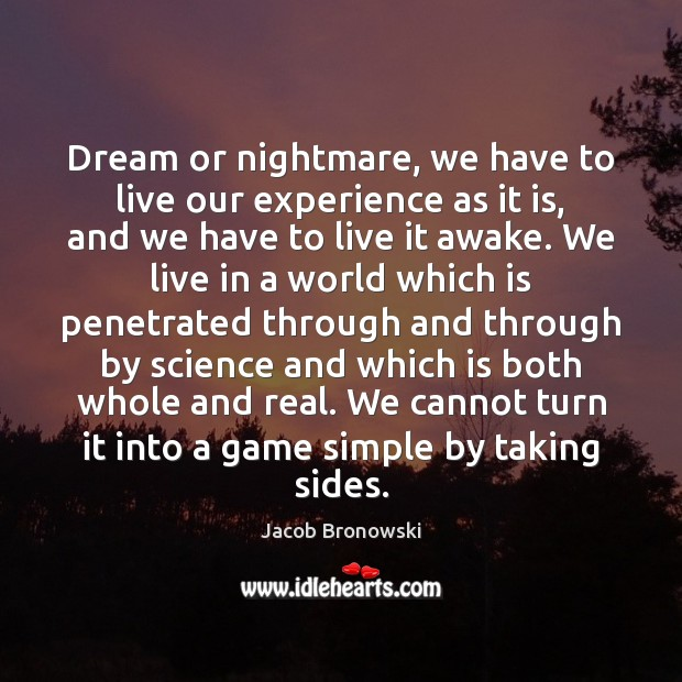 Dream or nightmare, we have to live our experience as it is, Image