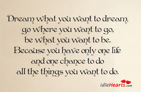 Dream What You Want To Dream, Go Where You…