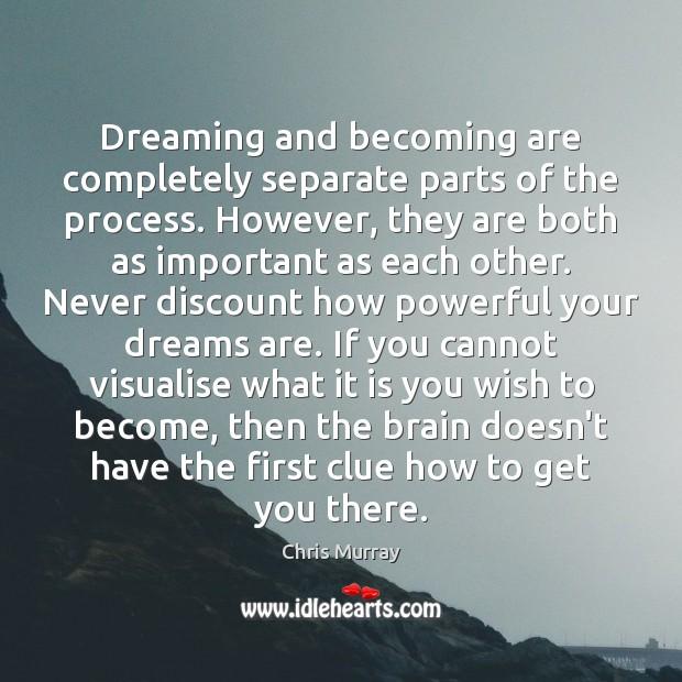 Dreaming and becoming are completely separate parts of the process. However, they Image
