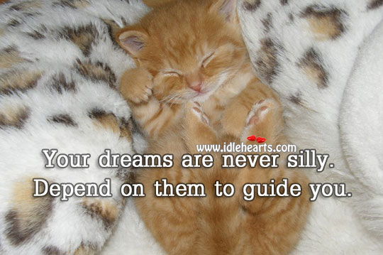 Image, Your dreams are never silly. Depend on them to guide you.