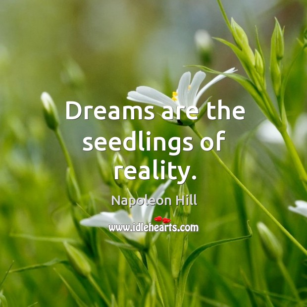 Dreams are the seedlings of reality. Image