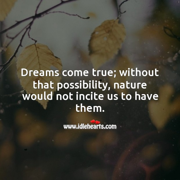 Dreams come true; without that possibility Image