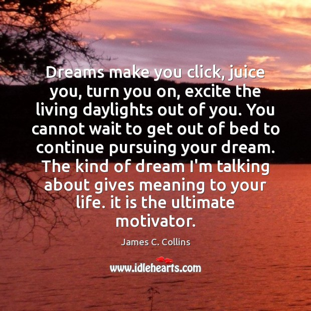 Dreams make you click, juice you, turn you on, excite the living James C. Collins Picture Quote
