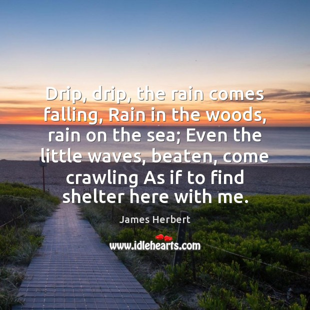 Drip, drip, the rain comes falling, Rain in the woods, rain on James Herbert Picture Quote
