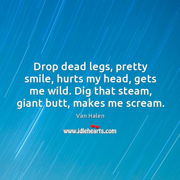 Drop dead legs, pretty smile, hurts my head, gets me wild. Dig that steam, giant butt, makes me scream. Van Halen Picture Quote