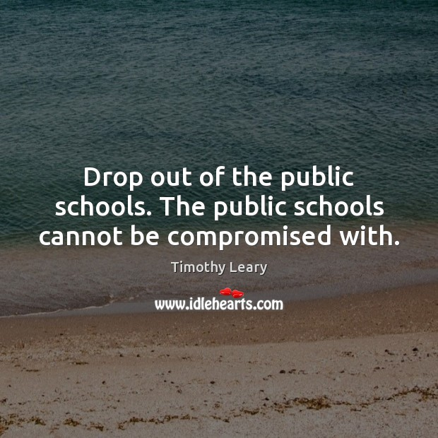 Image, Drop out of the public schools. The public schools cannot be compromised with.