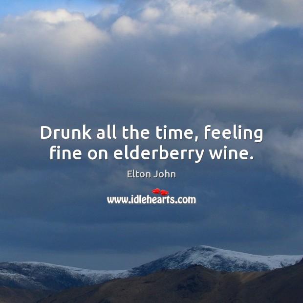 Drunk all the time, feeling fine on elderberry wine. Elton John Picture Quote