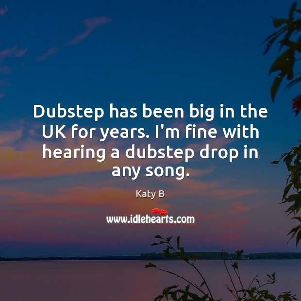 Image, Dubstep has been big in the UK for years. I'm fine with