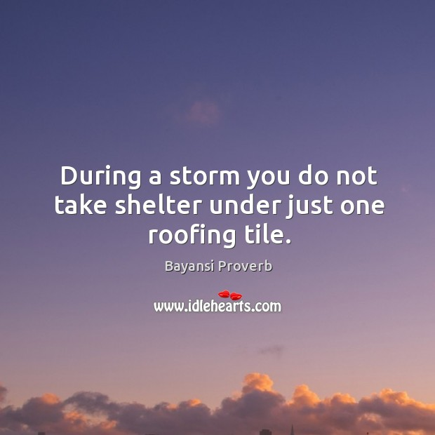 During a storm you do not take shelter under just one roofing tile. Bayansi Proverbs Image