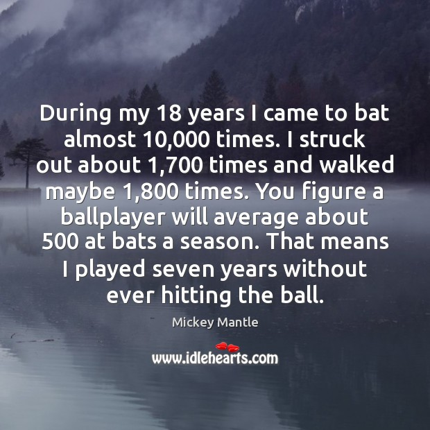 During my 18 years I came to bat almost 10,000 times. I struck out Mickey Mantle Picture Quote