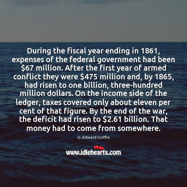 Image, During the fiscal year ending in 1861, expenses of the federal government had