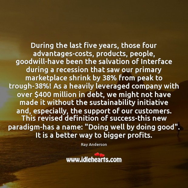 During the last five years, those four advantages-costs, products, people, goodwill-have been Image