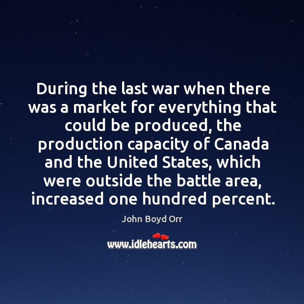 During the last war when there was a market for everything that could be produced John Boyd Orr Picture Quote